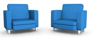 Two blue armchairs
